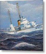 U. S. Coast Guard Cutter Sebago Takes A Roll Metal Print by William H RaVell III