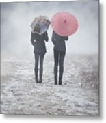 Umbrellas In The Mist Metal Print by Joana Kruse