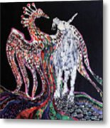 Unicorn And Phoenix Merge Paths Metal Print by Carol Law Conklin