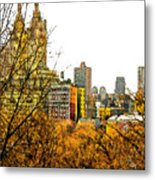 Urban Autumn In Nyc Metal Print by Linda  Parker