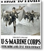 Us Marine Corps - First To Fight  Metal Print by War Is Hell Store
