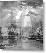 U.s. Naval Ships At The Brooklyn Navy Yard Metal Print by War Is Hell Store