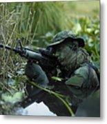 U.s. Navy Seal Crosses Through A Stream Metal Print by Tom Weber