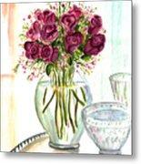 Valentines Crystal Rose Metal Print by Clara Sue Beym