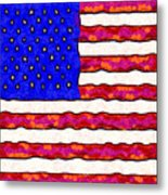 Van Gogh.s Starry American Flag . Square Metal Print by Wingsdomain Art and Photography