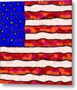Van Gogh.s Starry American Flag Metal Print by Wingsdomain Art and Photography