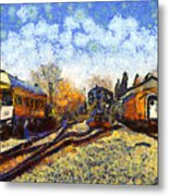 Van Gogh.s Train Station 7d11513 Metal Print by Wingsdomain Art and Photography