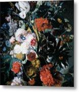 Vase Of Flowers Metal Print by Jan Van Huysum