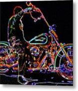 Vato N' Harley Aglow Metal Print by Kimberley Joy Ferren