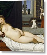 Venus Of Urbino Before 1538 Metal Print by Tiziano Vecellio
