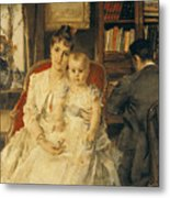 Victorian Family Scene Metal Print by Alfred Emile Stevens