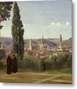 View Of Florence From The Boboli Gardens Metal Print by Jean Baptiste Camille Corot