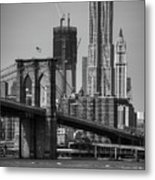 View Of One World Trade Center And Brooklyn Bridge Metal Print by Matt Pasant