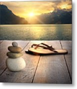 View Of Sandals And Rocks On Dock  Metal Print by Sandra Cunningham