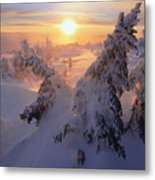 View Of Snow-covered Trees At Mont Metal Print by Yves Marcoux