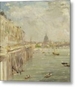 View Of Somerset House Terrace And St. Paul's Metal Print by John Constable