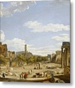 View Of The Roman Forum Metal Print by Giovanni Paolo Panini