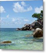 View Of The Sea And A Rocky Coastline Metal Print by Caspar Benson