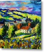 Village And Blue Poppies  Metal Print by Pol Ledent