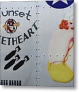 Vintage Pinup Nose Art Sunset Sweetheart Metal Print by Cinema Photography