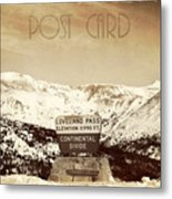 Vintage Style Post Card From Loveland Pass Metal Print by Juli Scalzi