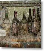 Vintage Wine Bottles - Tuscany  Metal Print by Jen White
