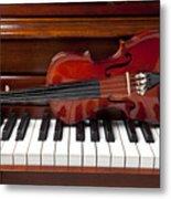 Violin On Piano Metal Print by Garry Gay