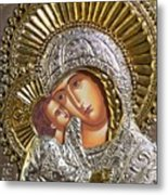 Virgin Mary With Child Jesus Greek Icon Metal Print by Jake Hartz