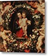 Virgin With A Garland Of Flowers Metal Print by Peter Paul Rubens