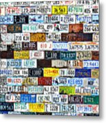 Wall Of American License Plates Metal Print by Christine Till