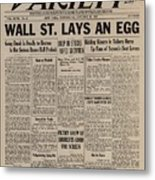 Wall Street Lays An Egg. Famous Metal Print by Everett