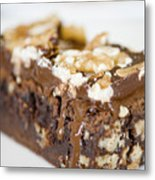 Walnut Brownie On A White Plate Metal Print by Ulrich Schade