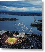 Washington Aerial View Of Husky Stadium Metal Print by Jay Drowns