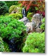 Waterfalls In Japanese Garden Metal Print by Carol Groenen