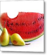 Watermelon And Pears Metal Print by Carlos Caetano