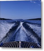 Waves Left In The Wake Of A Boat Metal Print by Kenneth Garrett