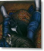 We 3 Nap With My Cats Metal Print by Carol Wilson