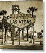 Welcome To Las Vegas Series Sepia Grunge Metal Print by Ricky Barnard
