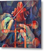Well Conducted - Painting Of Cello Head And Conductor's Hands Metal Print by Susanne Clark