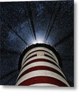 West Quoddy Head Lighthouse Night Light Metal Print by Marty Saccone