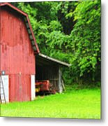 West Virginia Barn And Baler Metal Print by Thomas R Fletcher