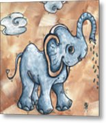 Whimsical Pop Art Childrens Nursery Original Elephant Painting Adorable By Madart Metal Print by Megan Duncanson