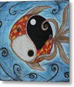 Whimsy Fish 3 Yin And Yang Metal Print by Rain Ririn