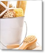 White Bucket Filled With Sponges And Scrub Brushes  Metal Print by Sandra Cunningham