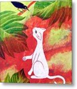 White Cat Black Bird Metal Print by Susan Greenwood Lindsay