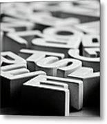 White Ceramic Letters Metal Print by Michelle Shinners