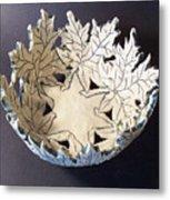 White Maple Leaf Bowl Metal Print by Carolyn Coffey Wallace