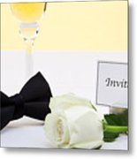 White Rose Bow Tie And Invitation. Metal Print by Richard Thomas