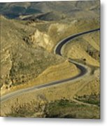 Winding  King Road In Wadi Mujib Valley Metal Print by Sami Sarkis