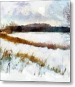 Windmill In The Snow Metal Print by Valerie Anne Kelly